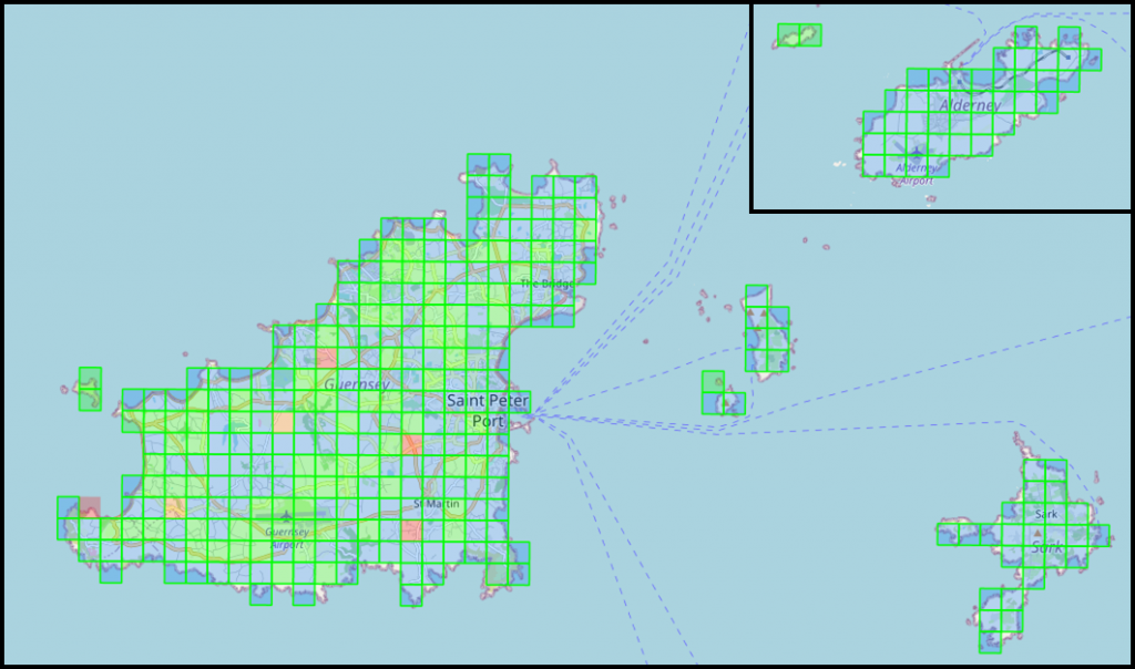Map of the Bailiwick of Guernsey Bat Survey. Click to reserve a detector